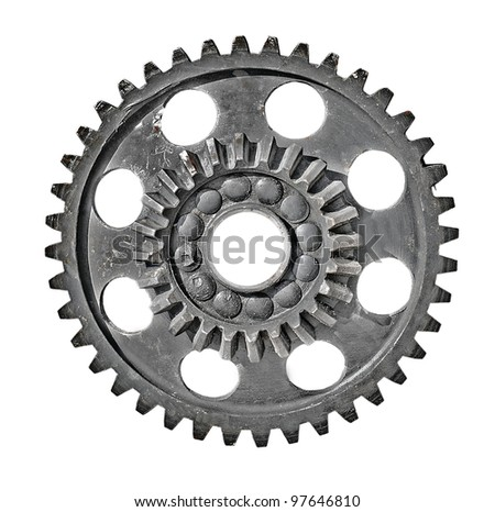 Old mechanical gear isolated on white background - stock photo