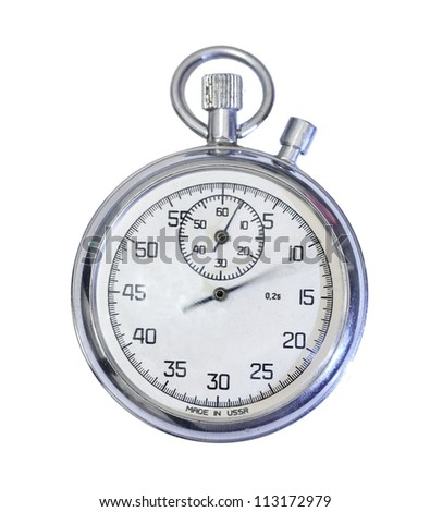 Old mechanical russian stopwatch isolated on white - stock photo