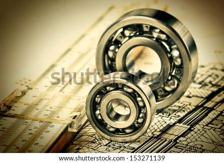 Old mechanical scheme and  bearing - stock photo