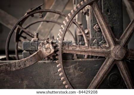 old mechanisms of industrial machinery - stock photo