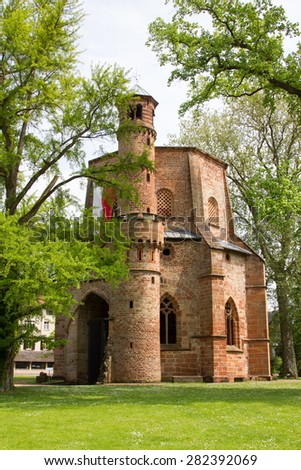 old medieval abbey and ginkgo tree, mettlach, germany