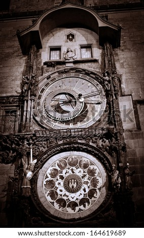 Old medieval astronomical clock in Czech capital Prague - stock photo