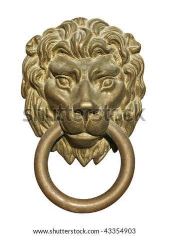 Old medieval bronze door knocker in shape of lion head isolated on white background