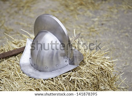 Old medieval, detail of an old steel town, recreation of medieval warfare - stock photo