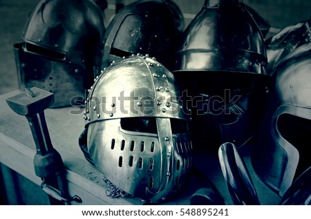 Old medieval helmets, detail of some ancient medieval armor, protection and war