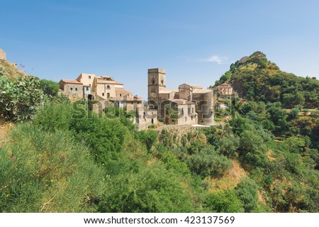 Old medieval mediterranean small town on the top of the mount with church, Sicily, Italy - stock photo