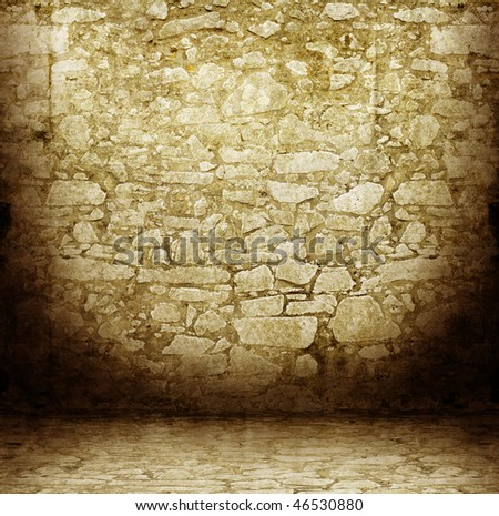 old medieval room - stock photo