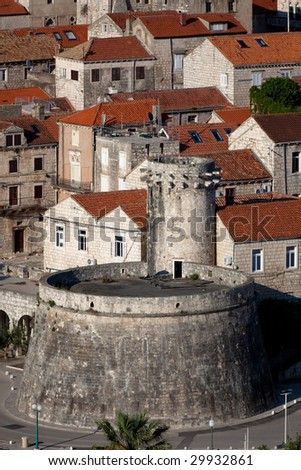 Old medieval town Korcula - panorama detail. Croatia, Dalmatia region, Europe. - stock photo
