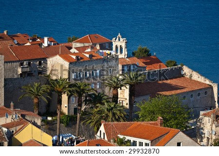 Old medieval town Korcula - panorama detail with chatedral. Croatia, Dalmatia region, Europe. - stock photo