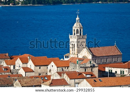 Old medieval town Korcula - panorama detail with chathedral. Croatia, Dalmatia region, Europe. - stock photo