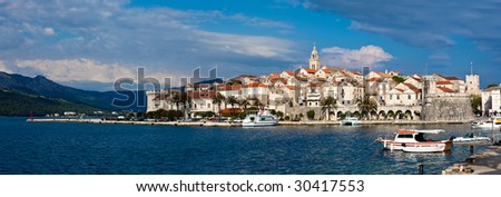 Old medieval town Korcula - panorama with city walls and fortresses. Croatia, Dalmatia region, Europe.