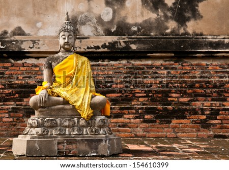 old Meditation Buddha statue, Thailand - stock photo