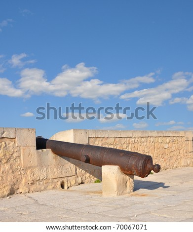 Old Mediterranean Cannon at Famous Fortress Castle Santa Barbara in Cost Blanca Alicante Spain Southern Europe