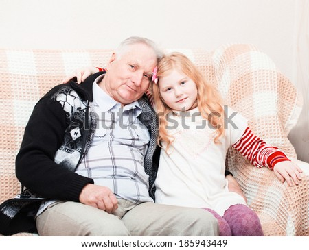 old men and little girl - stock photo