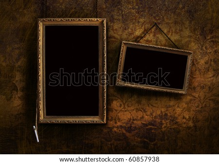 Old menu board with grungy floral background effect - stock photo