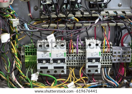 old messy electrical panel stock photo royalty free 619676441 rh shutterstock com control panel wiring specification control panel wiring symbols