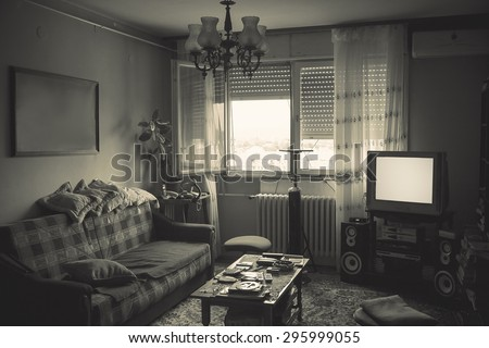 Old messy room interior, details of a lifestyle.  - stock photo