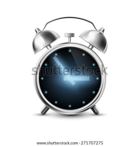 Old metal alarm clock with digital display - stock photo