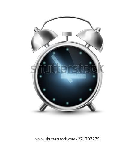 Old metal alarm clock with digital display - stock photo