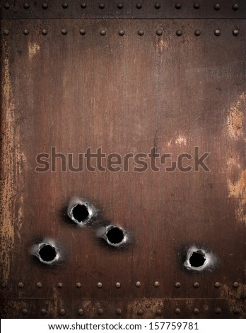 old metal background with bullet holes - stock photo