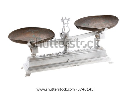 old metal balance isolated on white