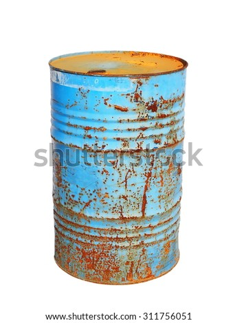 old metal blue barrel oil isolated on white background, with clipping path - stock photo