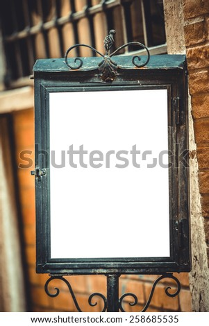 old metal board with white background for your text - stock photo