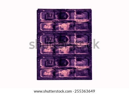 Old metal box isolated on white background,Purple tone - stock photo