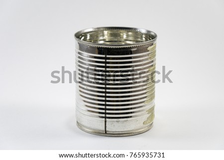 Old metal cans on a white background