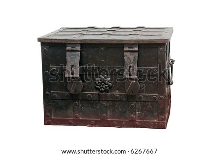 Old metal chest with ornamental iron fittings over white background - stock photo