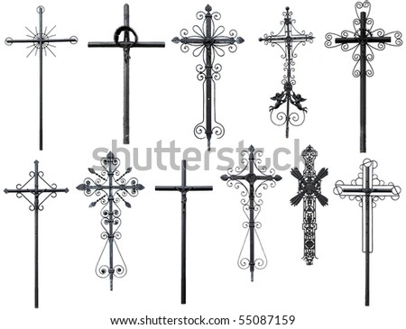old metal Christian cross isolated on white background - stock photo