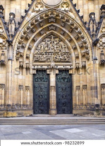 old metal Church Door - stock photo