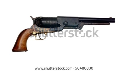 old metal colt revolver on white background - stock photo