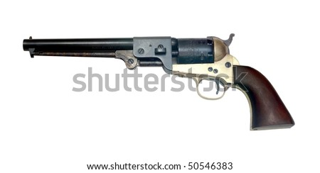 old metal colt revolver on white background
