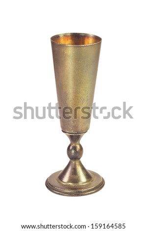 old metal cup isolated on white background - stock photo