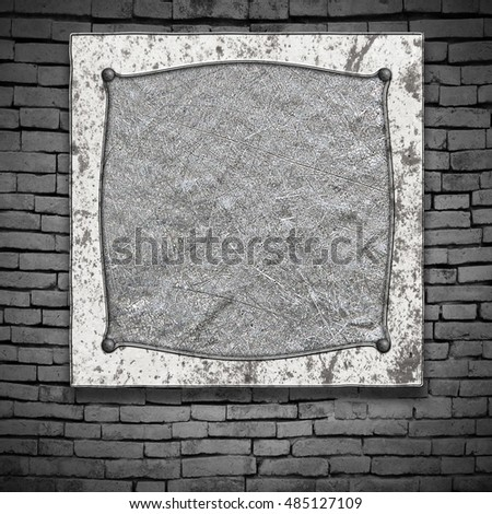 old metal frame on brick wall. 3d illustration background.
