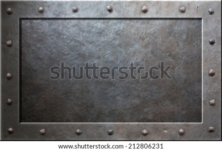 Old metal frame with rivets - stock photo