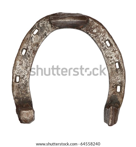 Old metal horseshoe isolated on white background - stock photo