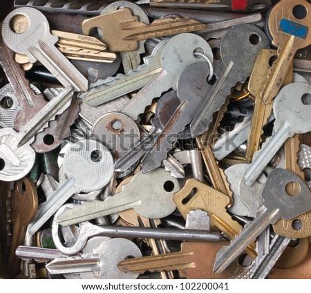 old metal keys background - macro shot - stock photo