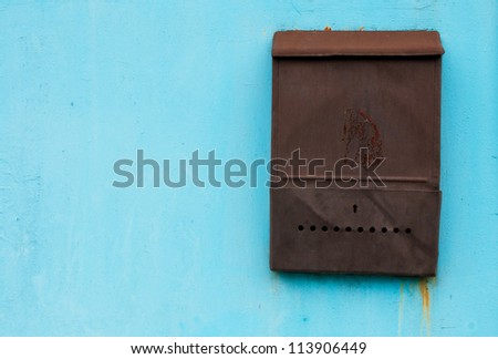 Old metal mailbox - stock photo