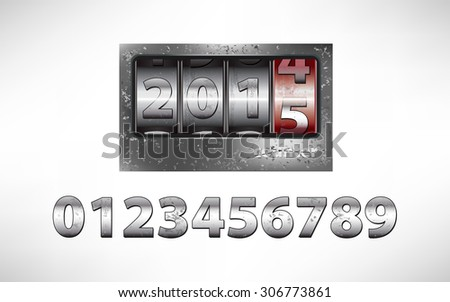 Old metal mechanical counter with year 2015 - stock photo