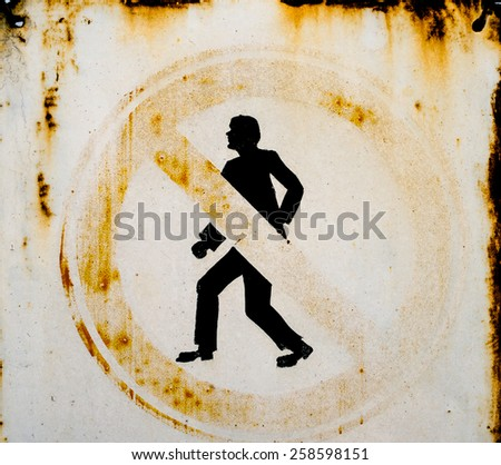 Old metal No Pedestrians sign. Close up. - stock photo
