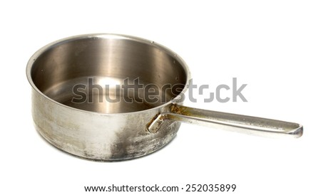 old metal pan on a white background
