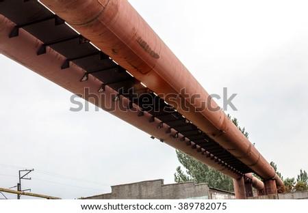 Old metal pipeline of large diameter pipes. Rusty Pipeline. Pipeline maintenance of urban water canal system. Ukrainian energy system. Gas industry