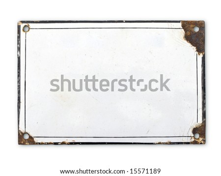 Old metal plate blank signal. - stock photo