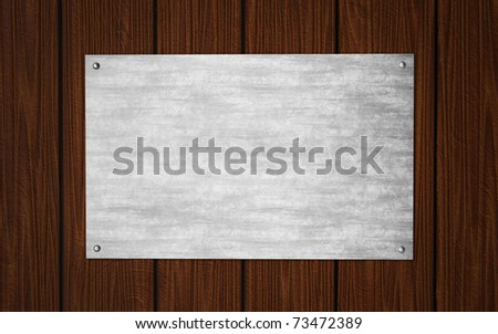 old metal plate on wooden background