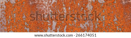 Old metal rusty with cracked paint. Background letterbox format  - stock photo