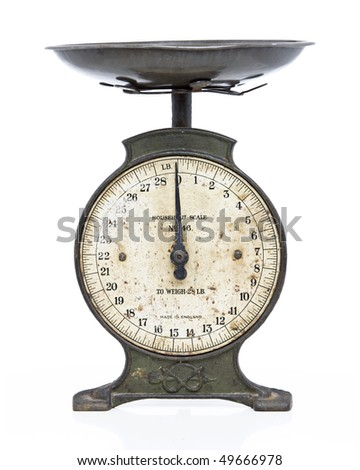 old metal scales on white studio backdrop - stock photo