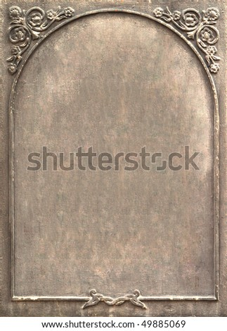 Old metal signboard with ornament - stock photo