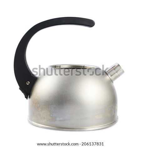 Old metal stovetop kettle with a black handle isolated over the white background